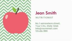 Girly pink heart shaped apple with bow for diet and nutrition cute apple green and white chevron nutritionist business cards http zazzle reheart Image collections