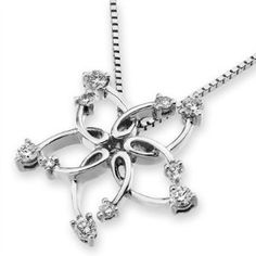 18K White Gold Filigree Star Diamond Accents Necklace $920 With Free Shipping