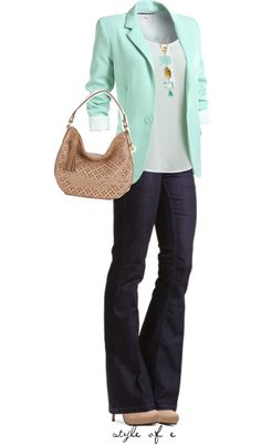 Mint Blazer by styleofe featuring tri color jewelry Mint Blazer Outfit 4e0991894cf
