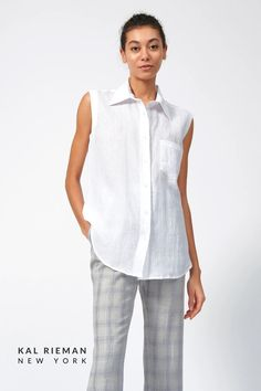 For the grown-up tomboy in you, this Sleeveless Summer Cotton Shirt is a must. With a cool fit and single chest pocket, the sleeveless shirt for women nods to the good old days. Pair it with your favorite white bottom for a fresh take on a classic look, or toss on top of a pair of joggers for the perfect and comfortable work from home outfit. Shop more summer fashion and cotton tops now at KAL RIEMAN. Casual Work Outfits, Business Casual Outfits, Professional Outfits, Work Casual, European Fashion, Timeless Fashion, Modest Pants, Travel Outfit Summer, Classic Wardrobe