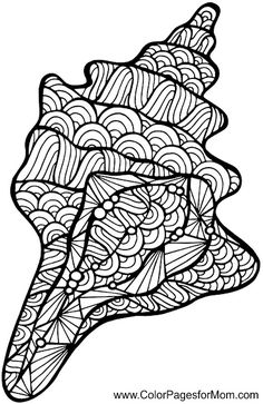 Free Printable Adult Coloring Pages - Sea & Ocean Coloring Pages Ocean Coloring Pages, Mandala Coloring, Coloring Book Pages, Printable Coloring Pages, Coloring Pages For Kids, Coloring Sheets, Zentangle Patterns, Zentangles, Shell Art