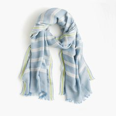 """A lightweight striped scarf with fun embroidery at the border is our prettiest defense against chilly spring weather. <ul><li>80""""L x 30""""W.</li><li>Cotton/linen/poly.</li><li>Dry clean.Made in Italy.</li></ul>"""