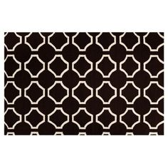 Check out this item at One Kings Lane! Theia Flat-Weave Rug, Black/Parchment