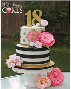 Black, Gold & White Polka Dot and Stripe Kate Spade Inspired Cake