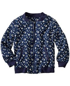 The sporty quilted bomber jacket in a cool mini flower print—predicting instant fave status from the moment she slips on the softness of this superwashed chambray with its cozy jersey knit lining. <br>• Superwashed cotton chambray<br>• Fully lined in cotton jersey<br>• Welt pockets<br>• Rugged ribbing at neck, cuffs, hem<br>• Sturdy exposed zipper<br>• Imported