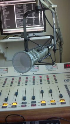The microphone and board at 89.5 FM WBKE - Manchester University's student-run radio station