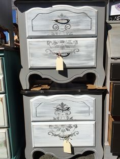 Pair of gray night stands for sale by Shabby Restore (www.shabbyrestore.com) today at the Treasure Island Flea in San Francisco. #shabby #restore