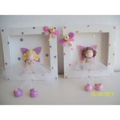 so cute for girls room Clay Crafts, Felt Crafts, Diy And Crafts, Cute Clay, Clay Figures, Pasta Flexible, Cold Porcelain, Box Frames, Baby Decor