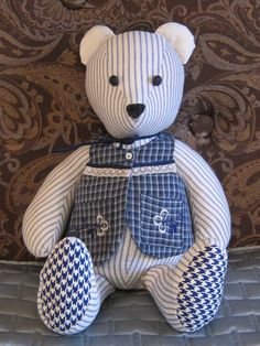 Memory Teddy Bear by Iseam2remember on Etsy. Made from your clothing