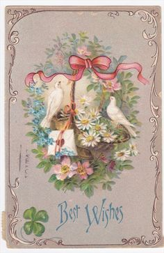 Doves Ribbon  Basket of Flowers Best Wishes Embossed Postcard picclick.com