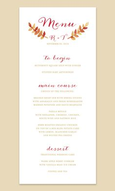 16 best Fall Wedding Menu images on Pinterest | Cooking recipes ...