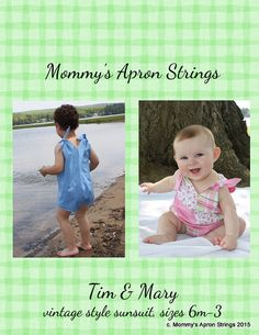 FREE Pattern by Mommy's Apron Strings - Timmy and Mary, a vintage style sunsuit for boys and girls sizes 6 months, 2 and 3 Kids Fever, Romper Pattern, Sewing Basics, Pdf Sewing Patterns, Baby Patterns, Sewing Tutorials, Sewing Ideas, Sewing Projects, Free Baby Stuff
