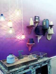 Ombre Wall Inspiration Painted Walls Purple Bright