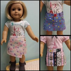 """Made with Lee & Pearl Pattern #1041: Slim Skirts — Denim and Pencil Skirts for 18"""" Dolls"""