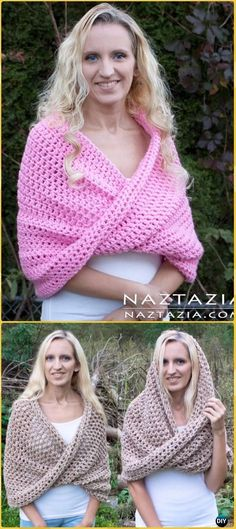 Crochet Mobius Shawl Wrap and Hooded Cowl Free Pattern &Video - Crochet Infinity Scarf Free Patterns