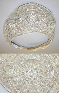 Detail of Wedding headdress, crystal beaded embroidery, 1926, via The Metropolitan Museum of Art. (=)