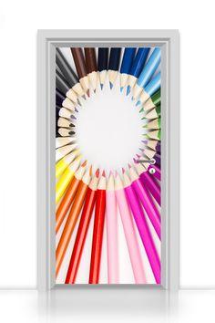 selbstklebende Türtapete - kreative Buntstifte - Premium Qualität - kinderleicht zu verkleben! Printerieur von codiarts - Interieur Design frisch und individuell gedruckt auf hochwertigen Medien - deutsche Qualitätsproduktion kombiniert mit exklusiven Motiven von codiarts