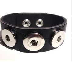 Black Textured Real Leather 3 Snap 18-20mm Snap Bracelet