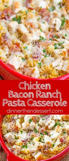 Chicken Bacon Ranch Pasta Bake is an easy casserole with creamy alfredo sauce wi. Chicken Bacon Ranch Pasta Bake is an easy casserole with creamy alfredo sauce with ranch flavors, chicken, bacon and pasta all baked together for a perfect weeknight meal. Pasta Casserole, Casserole Dishes, Casserole Recipes, Pasta Recipes, Chicken Recipes, Cooking Recipes, Recipe Pasta, Dinner Recipes, Cooking 101