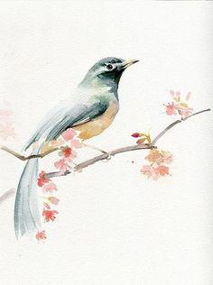 Урок рисования акварелью: как нарисовать пасторальную птичку