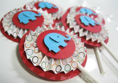 Circus+Elephant+Cupcake+Toppers+Elephant+by+BeautifulPaperCrafts,+$14.00