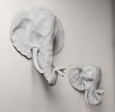 Papier-Mâché Elephant Head
