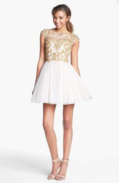 $450 Embellished sequin party dress - so cute! Sherri Hill Embellished Silk Fit & Flare Dress