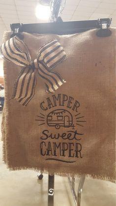 Camping Flag, Garden Flag, Burlap Garden Flag, Camper Welcome Flag, Camper Sweet Camper Flag, Campsite Flag, Flag for Camper, Hostess Gift by Marijeans on Etsy