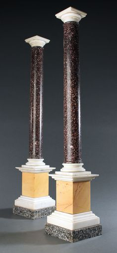 Grand Tour specimen marble and porphyry columns. Grand Tour, Site Design, Columns, How To Find Out, Candle Holders, Marble, Carving, Tours, Antiques