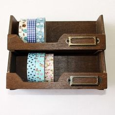 This is really cute antique style wood tape/ribbon storage are perfect for your masking tapes, letters, card, tags, or any other little things you can think of. These storage racks...
