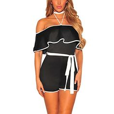 16477280ebb Kumono Women s Casual Sexy Off Shoulder Halter Neck Bodycon Short Pant Jumpsuits  Romper with Belt