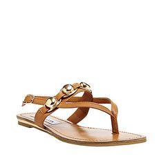 CHAINN COGNAC MULTI women's sandal flat ankle strap - Steve Madden