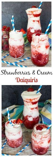 Strawberries & Cream Daiquiris | Mom's Food Recipe