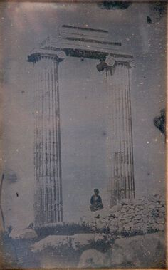 Joseph-Philibert Girault de Prangey (French, 1804–1892), 76. Jéronda. Temple—Colonnes. [Didyma], c. 1843, daguerreotype, 7 3/8 x 4 3/4 x 5/16 inches. Collection of Middlebury College Museum of Art. Purchase with funds provided by the Christian A. Johnson Memorial Art Acquisition Fund, 2004.034.