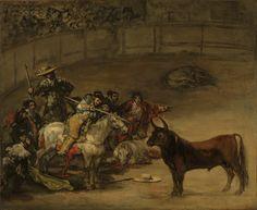 Bullfight, Suerte de Varas -- Francisco José de Goya y Lucientes (Francisco de Goya) (Spanish, 1746 - 1828) -- 1824 -- Oil on canvas -- 49.8 x 70.8 cm (19 5/8 x 27 7/8 in.)