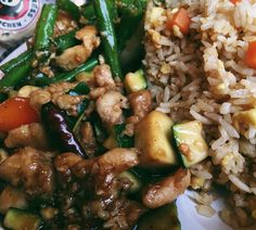 #iphone6 #iphone6s #vsco #vscocam #vscofeature #vscophile #vscogood #afterlight #mextures #igersohio #instaohio #foodporn #onthetable #instafood #fromwhereistand #whatisee #goodeats #2016 The last of the Panda Express spam I promise.  Kung Pao Chicken String Bean Chicken and fried rice for my sweets. by catastrophicbliss