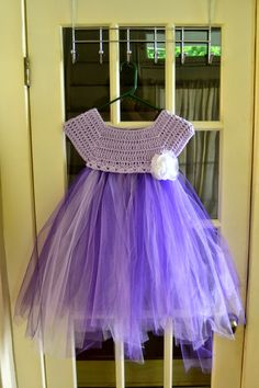 The View From My Hook: Free Pattern Friday: Kassia Empire Waist Dress (2-4 years) Crochet top, tulle bottom ༺✿ƬⱤღ✿༻