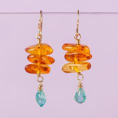 Amber nugget and blue topaz briolette drop earrings