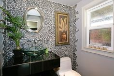 "Contemporary Powder Room with High ceiling, The Tle Shop Grey Black Marble Cobble 12""x12"", CLEAR ROUND GLASS VESSEL SINK"