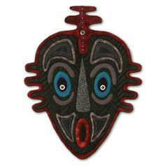 "African Masks: Quilted Mask - ""Down Under II"" - Wall Hanging - -Use Coupon Code - QUILT12 for 15% savings"