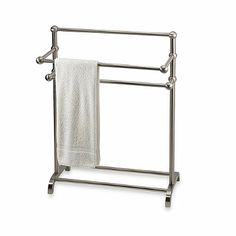 3-Tier Satin Nickel Towel Stand - BedBathandBeyond.com