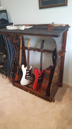 Custom Guitar Rack Post with 707 views. Guitar Storage, Guitar Rack, Guitar Stand, Guitar Shop, Guitar Picks Personalized, Custom Guitar Picks, Custom Guitars, Home Music Rooms, Home Studio Music
