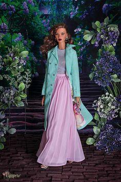 "ELENPRIV pink maxi chiffon skirt with full satin lining for Fashion royalty FR:16 ITBE 16"", Sybarite, Tonner and similar body size dolls. by elenpriv on Etsy"