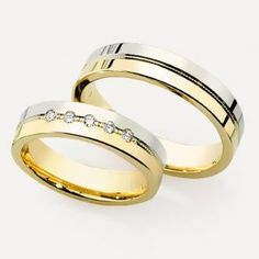 Two tone wedding rings ( Silver and Gold )
