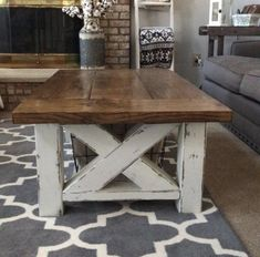"Build this lovely DIY Chunky Farmhouse Coffee TableMaterials List:4 - 4x4s @8ft2 - 2x4s @ 8ft2 - 2x6 @ 8ft3 - 2x10 @ 8ftCut List:4 - 4x4s @ 16""4 - 2x4s..."