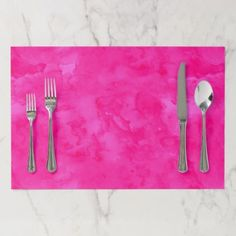 Neon pink watercolor modern bright background paper placemat - trendy gifts cool gift ideas customize