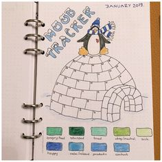 10 Mood Trackers for your Bullet Journal Penguin on the Igloo Mood Tracker for your Bullet Journal – itstartswithacoff… Bullet Journal Tracker, Doodle Bullet Journal, Bullet Journal Mood Tracker Ideas, December Bullet Journal, Bullet Journal Cover Page, Bullet Journal Ideas Pages, Bullet Journal Spread, Bullet Journal Layout, Bullet Journal Inspiration Creative