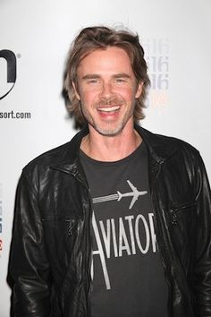 Actor Sam Trammell from HBO's Trueblood wearing the Aviator Tee at the premiere for the new season