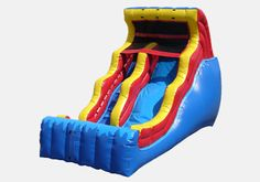 This colorful 18 foot double drop wet and dry water slide can be used year-round.