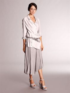 Satin Draped Tunic and Broomstick Skirt